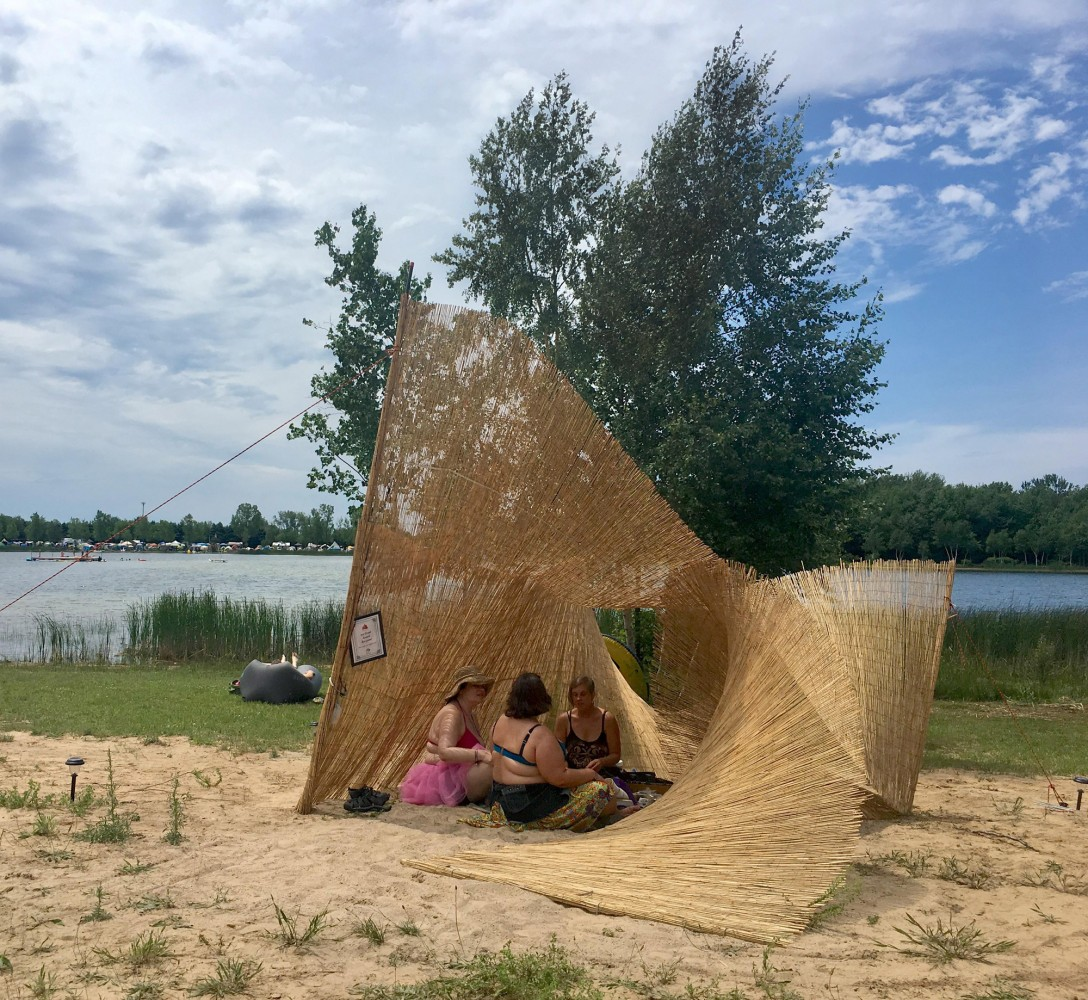 Sub Rosa Reed, Bamboo, Rope, Wire, Public Art Installation for Lakes of Fire 2017 Art Grant Recipient