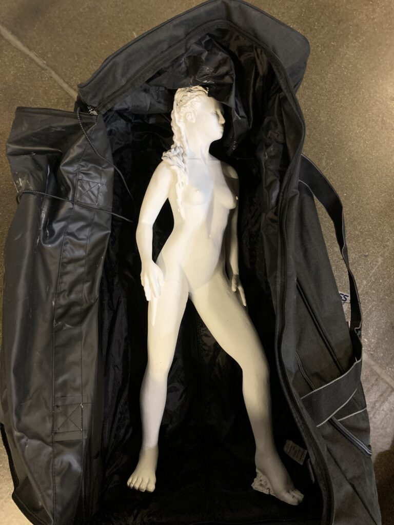 Athens Greece Artist Residency Modern Athena Sculpture Suitcase