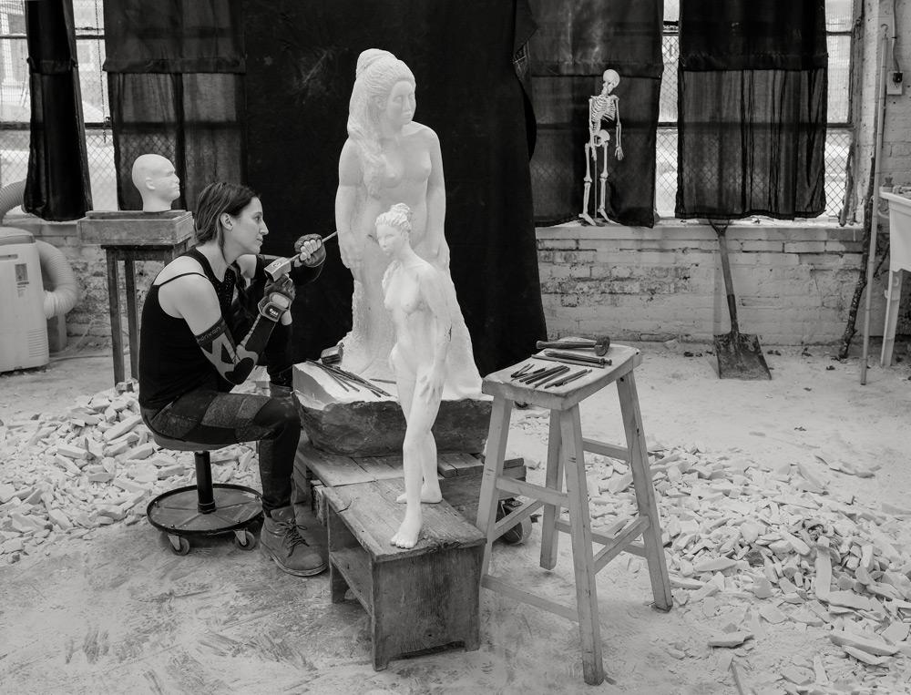Jyl Bonaguro Artist Carving Marble Sculpture Studio Chicago